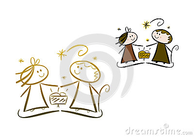 Cartoon nativity Scene: Father, mother and child