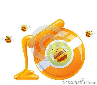 Cartoon natural orange honey in jar dropping and bees