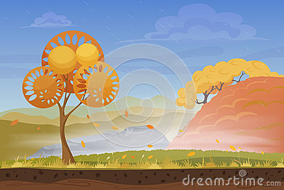 Cartoon nature autumn landscape in storm rainy wind cold day with grass, trees, cloudy sky and mountains hills. Vector Vector Illustration