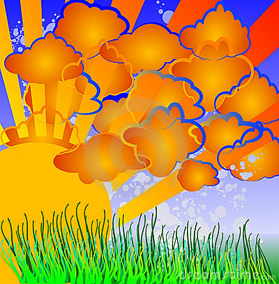 Cartoon Nature - Sun, Clouds, Grass.