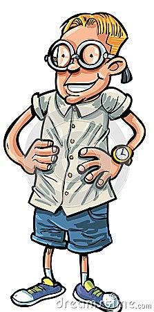 Cartoon nerd with hands on his hips