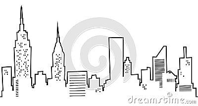 Cartoon skyline of new york city usa
