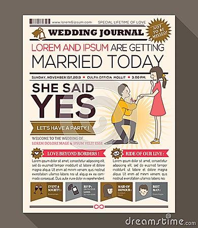 cartoon newspaper wedding invitation card design stock vector image 59337603. Black Bedroom Furniture Sets. Home Design Ideas