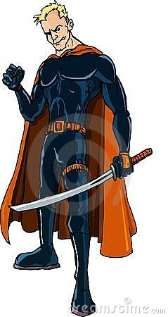 Cartoon Ninja superhero with a sword