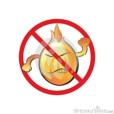 Cartoon no open fire cute sign