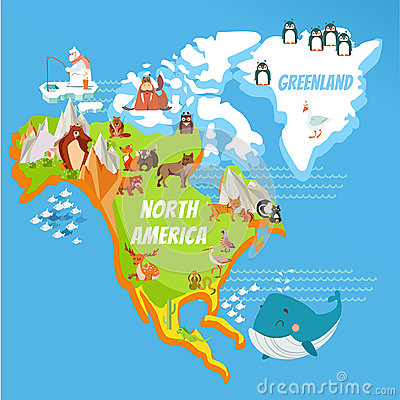 Cartoon North America Continent Map Stock Vector Image
