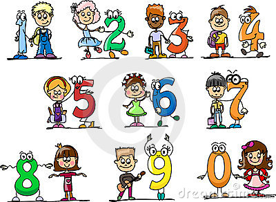 Cartoon numbers and children,vector