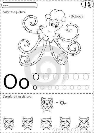 Cartoon Octopus And Owl. Alphabet Tracing Worksheet: Writing A-Z ...