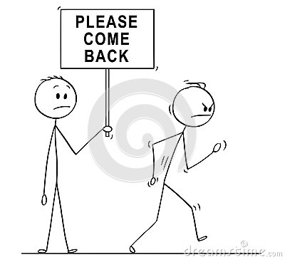 Free Cartoon Of Angry Man Or Businessman Leaving And Another With Please Come Back Sign Stock Photos - 121161963