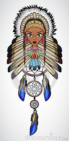 Free Cartoon Of Indian Native American Girl With Dream Catcher Royalty Free Stock Image - 68499966