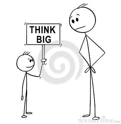 Free Cartoon Of Man And Small Boy Holding Think Big Sign Royalty Free Stock Photography - 119838947