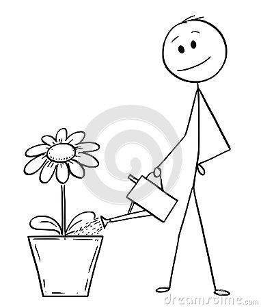 Free Cartoon Of Man Or Businessman Watering Flower Or Plant In Big Pot Royalty Free Stock Images - 121571039