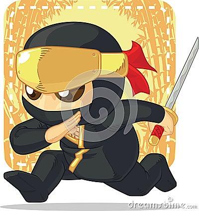 Free Cartoon Of Ninja Holding Japanese Sword Royalty Free Stock Image - 34692186