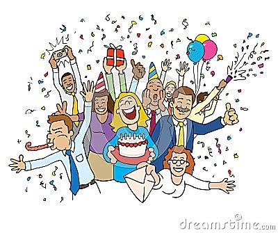 Cartoon Office Celebration