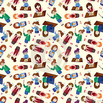 Cartoon office woman worker seamless pattern