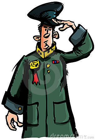 Cartoon officer saluting