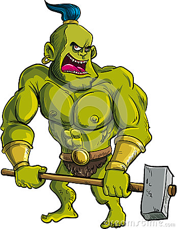Cartoon Ogre With A Big Hammer Royalty Free Stock Images ... | 348 x 450 jpeg 62kB