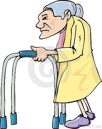 Cartoon old lady using awalking frame