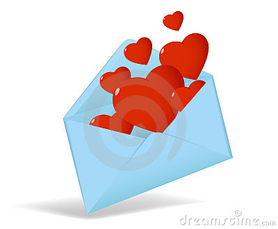 Cartoon opened envelope with red hearts