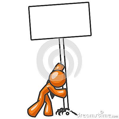 Cartoon orange man with sign