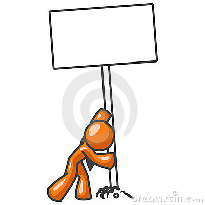 Free Cartoon Orange Man With Sign Stock Photography - 3136752
