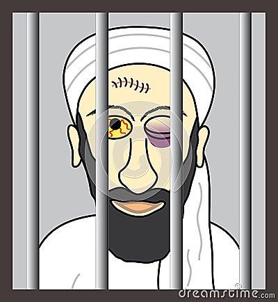 Cartoon Osama bin Laden behind bars
