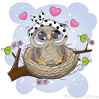 Cartoon Owl in a nest on a branch Vector Illustration