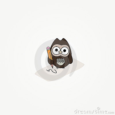 Cartoon owl with paper and pencil