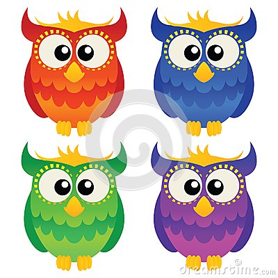 Cartoon owl set