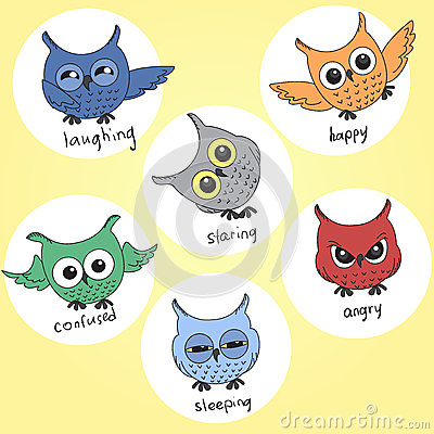 Cartoon owls in different moods