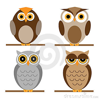 Cartoon owls set Vector Illustration