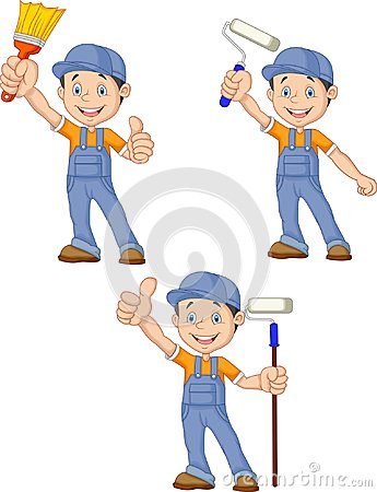 Free Cartoon Painters With Equipment Brush Collection Set Stock Images - 123696264