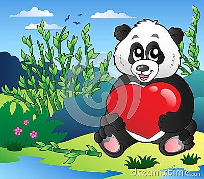 Cartoon panda holding heart outdoor