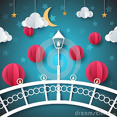 Free Cartoon Paper Landscape. Bridge, Lamp, Bulb, Street Illustration. Stock Photo - 113218180