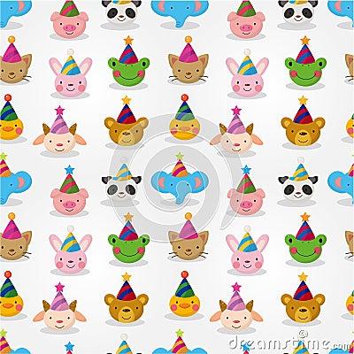 Free Cartoon Party Animal Head Seamless Pattern Stock Image - 20678591