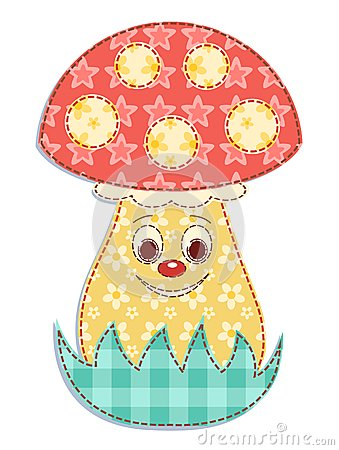 Cartoon patchwork mushroom 2