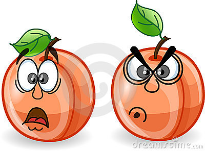 Cartoon peaches with emotions,vector
