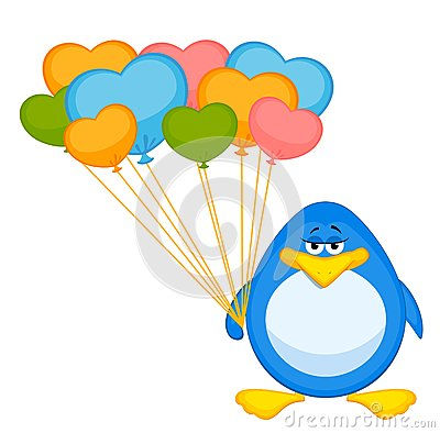 cartoon penguin with balloon