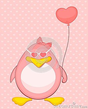 cartoon penguin with balloon