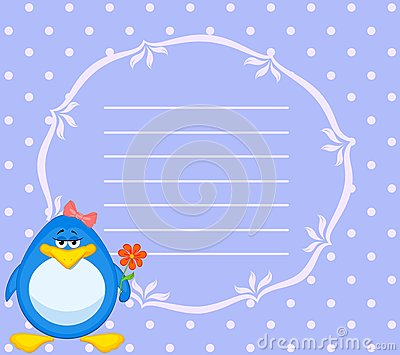 Cartoon penguin with flower
