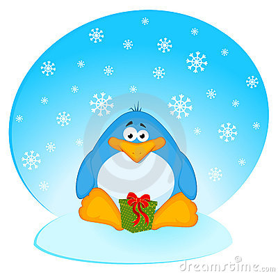 Cartoon penguin with gifts