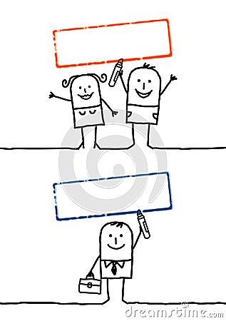 Cartoon people & blank stamp 4