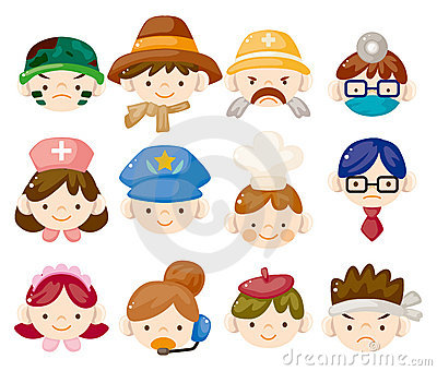 Cartoon people job face icons