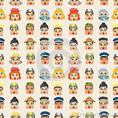 Free Cartoon People Job Face Seamless Pattern Royalty Free Stock Photo - 21271785