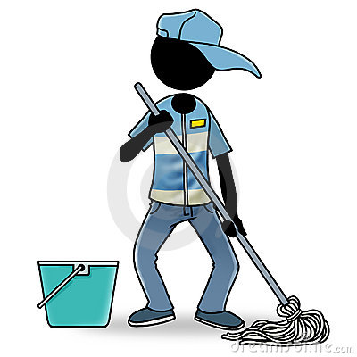 Cartoon people at work icon - cleaner