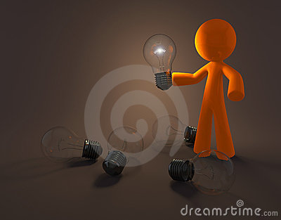 Cartoon person with light bulb
