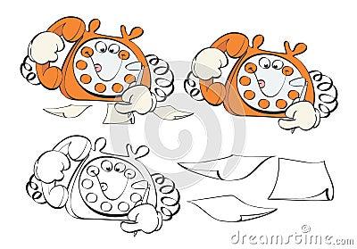 Cartoon phone taking order