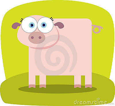 Cartoon Pig with big eye