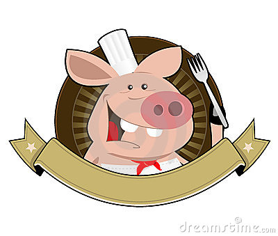 Cartoon Pig Cook Banner