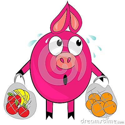 Cartoon pig with fruit  illustration.